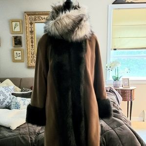 Vintage Alorna Faux Fur Collar/Cuff Coat